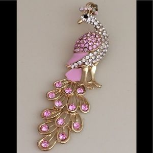 Gold Tone Peacock Pendant w/ crystals